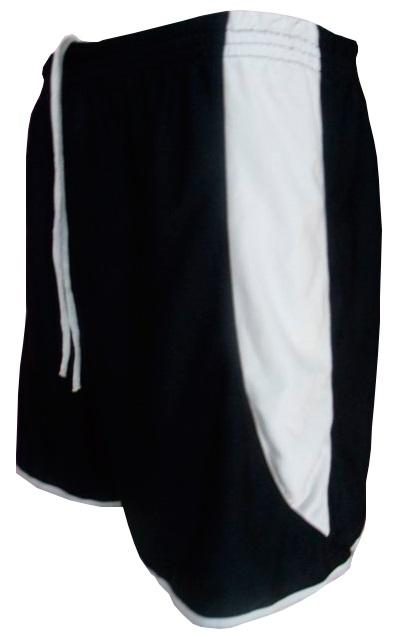Uniforme Esportivo com 14 camisas modelo Suécia Preto/Branco + 14 calções modelo Copa Preto/Branco + 14 pares de meiões Preto
