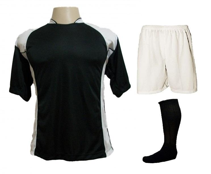 Uniforme Esportivo com 14 camisas modelo Suécia Preto Branco + 14 calções  modelo Madrid Branco ... b05266a39b8bb