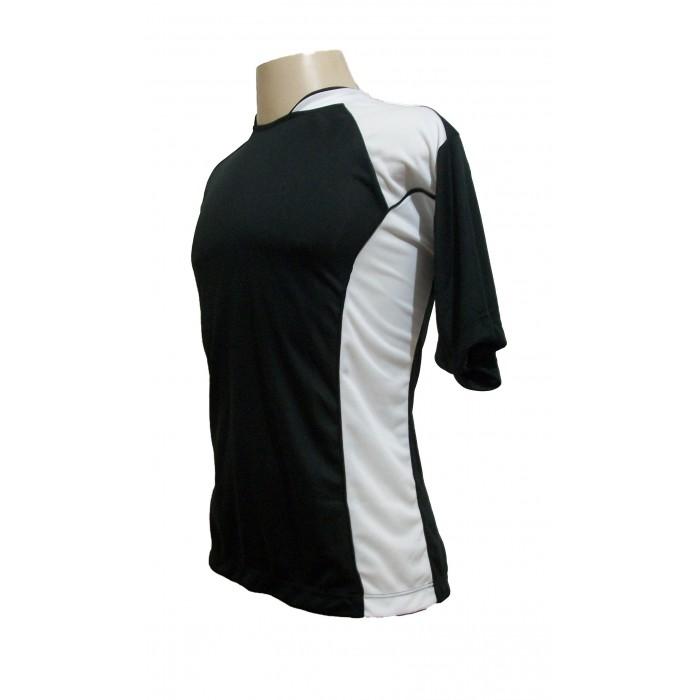 Uniforme Esportivo com 14 camisas modelo Suécia Preto/Branco + 14 calções modelo Madrid Branco + 14 pares de meiões Preto