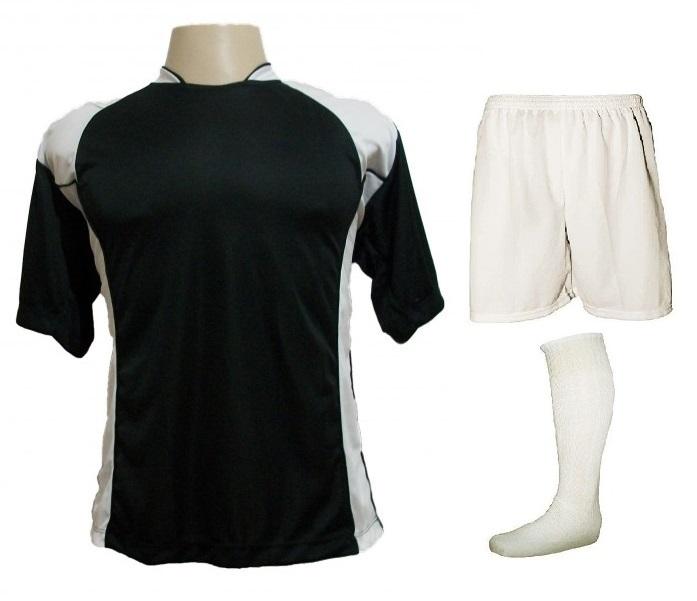 Uniforme Esportivo com 14 camisas modelo Suécia Preto/Branco + 14 calções modelo Madrid Branco + 14 pares de meiões Branco