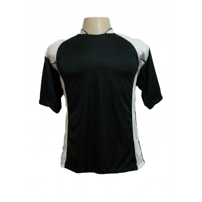 Uniforme Esportivo com 14 camisas modelo Suécia Preto/Branco + 14 calções modelo Madrid Preto + 14 pares de meiões Preto   - ESTAÇÃO DO ESPORTE