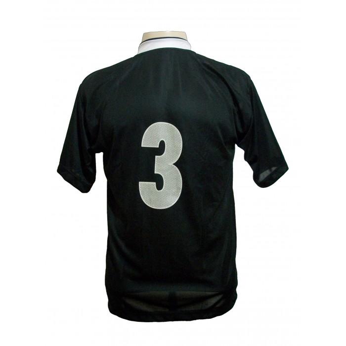 Uniforme Esportivo com 14 camisas modelo Suécia Preto/Branco + 14 calções modelo Madrid Preto + 14 pares de meiões Preto