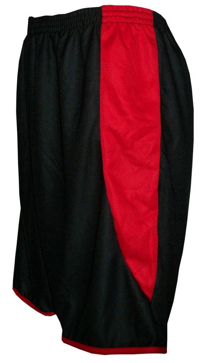 Uniforme Esportivo com 14 camisas modelo Suécia Preto/Vermelho + 14 calções modelo Copa Preto/Vermelho + 14 pares de meiões Vermelho