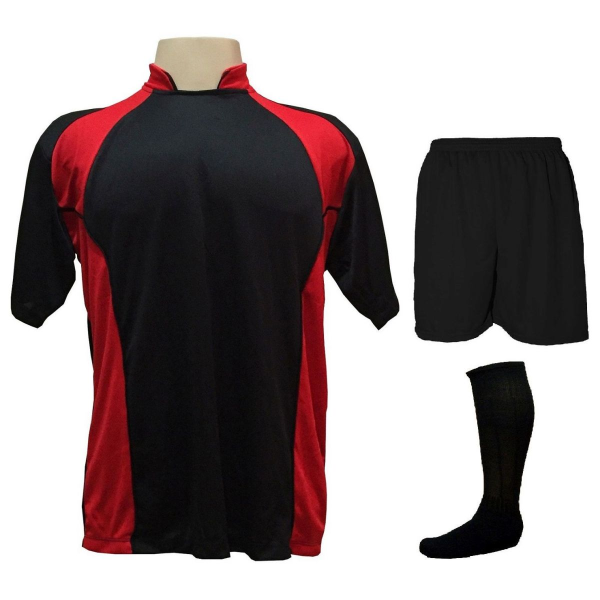 Uniforme Esportivo com 14 camisas modelo Suécia Preto/Vermelho + 14 calções modelo Madrid Preto + 14 pares de meiões Preto