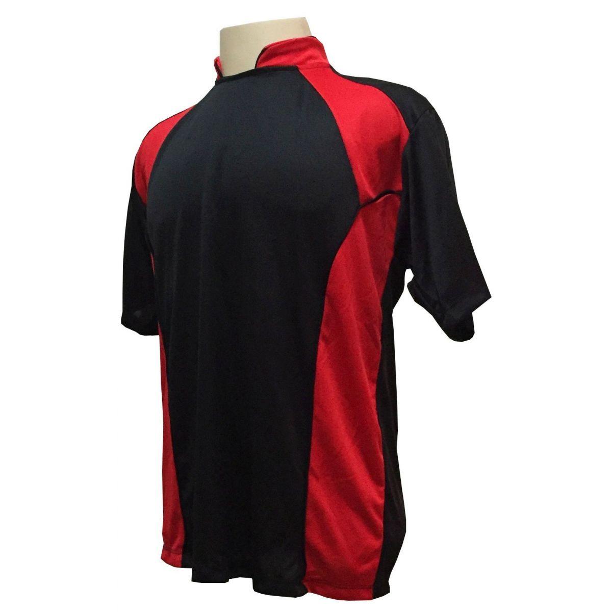 Uniforme Esportivo com 14 camisas modelo Suécia Preto/Vermelho + 14 calções modelo Madrid Preto + 14 pares de meiões Vermelho