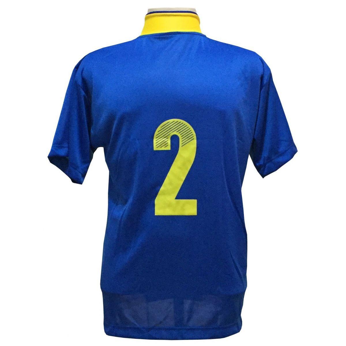 Uniforme Esportivo com 14 camisas modelo Suécia Royal/Amarelo + 14 calções modelo Madrid Amarelo + 14 pares de meiões Amarelo