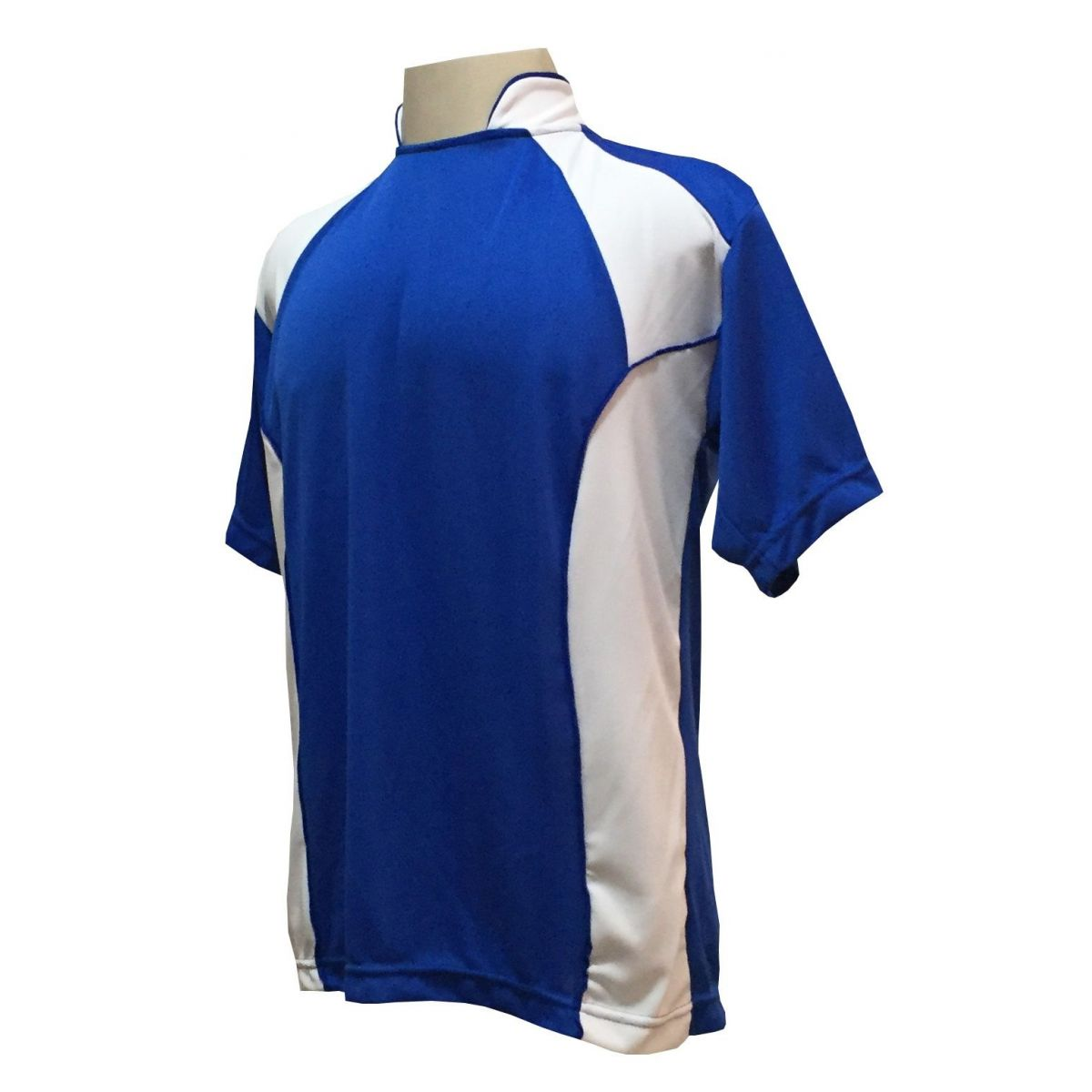 Uniforme Esportivo com 14 camisas modelo Suécia Royal/Branco + 14 calções modelo Copa Royal/Branco + 14 pares de meiões Royal