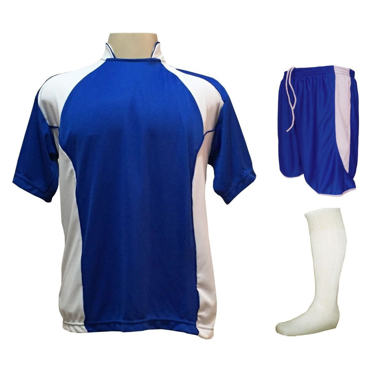 Uniforme Esportivo com 14 camisas modelo Suécia Royal/Branco + 14 calções modelo Copa Royal/Branco + 14 pares de meiões Branco