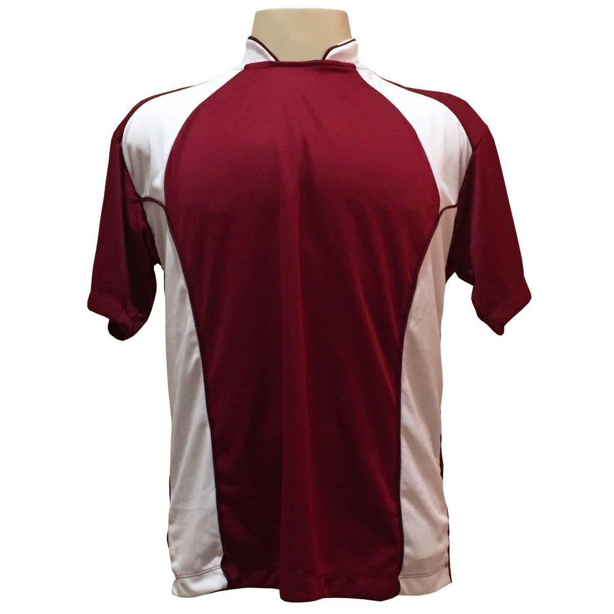 Uniforme Esportivo com 14 camisas modelo Suécia Vinho/Branco + 14 calções modelo Madrid Branco + 14 pares de meiões Branco