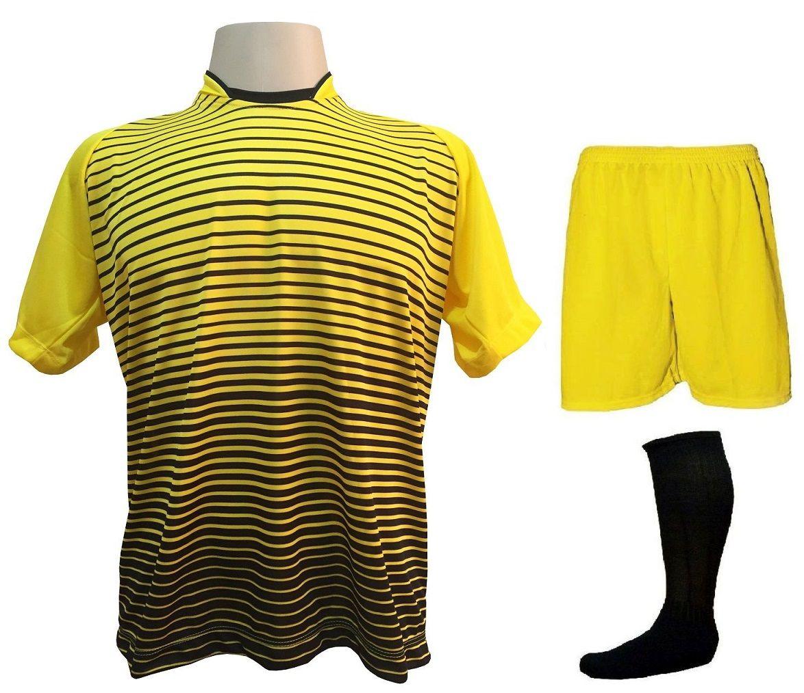 b49a0a6108 Uniforme Esportivo com 18 camisas modelo City Amarelo Preto + 18 calções  modelo Madrid Amarelo ...