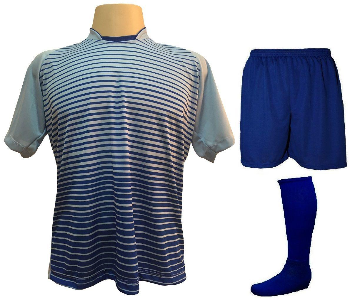 Uniforme Esportivo com 18 camisas modelo City Celeste/Royal + 18 calções modelo Madrid Royal + 18 pares de meiões Royal