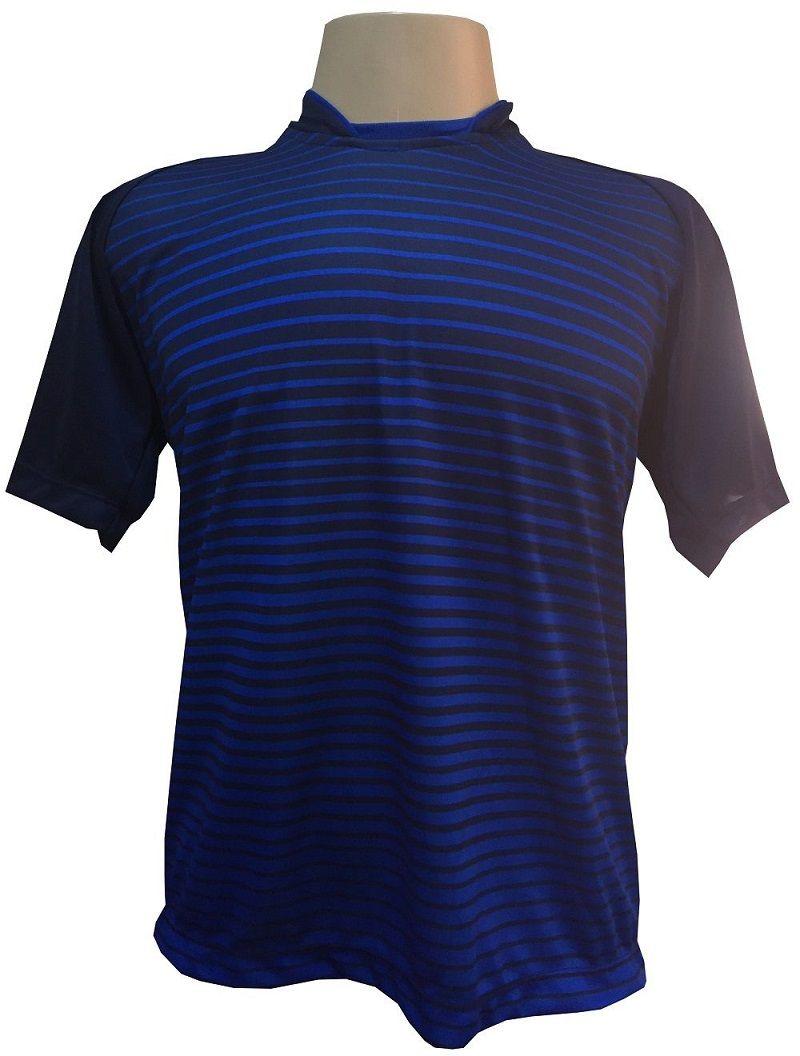 Uniforme Esportivo com 18 camisas modelo City Marinho/Royal + 18 calções modelo Madrid Royal + 18 pares de meiões Marinho