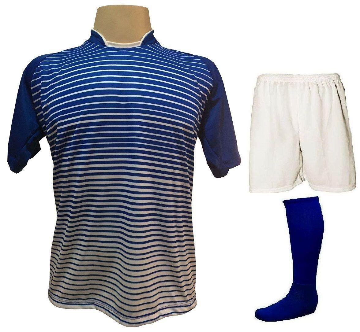 Uniforme Esportivo com 18 camisas modelo City Royal/Branco + 18 calções modelo Madrid Branco + 18 pares de meiões Royal