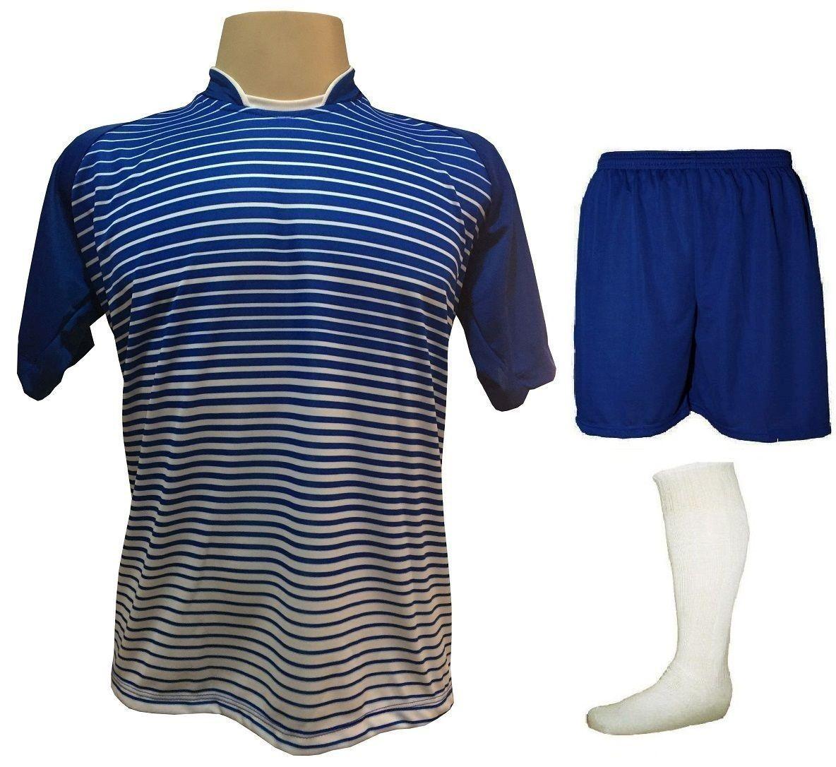Uniforme Esportivo com 18 camisas modelo City Royal/Branco + 18 calções modelo Madrid Royal + 18 pares de meiões Branco   - ESTAÇÃO DO ESPORTE