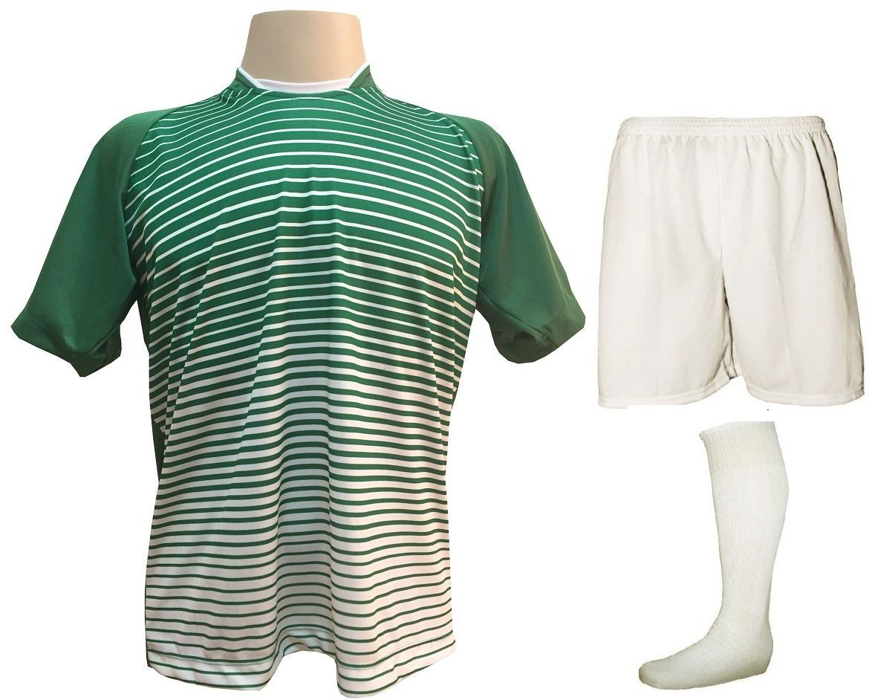 Uniforme Esportivo com 18 camisas modelo City Verde/Branco + 18 calções modelo Madrid Branco + 18 pares de meiões Branco