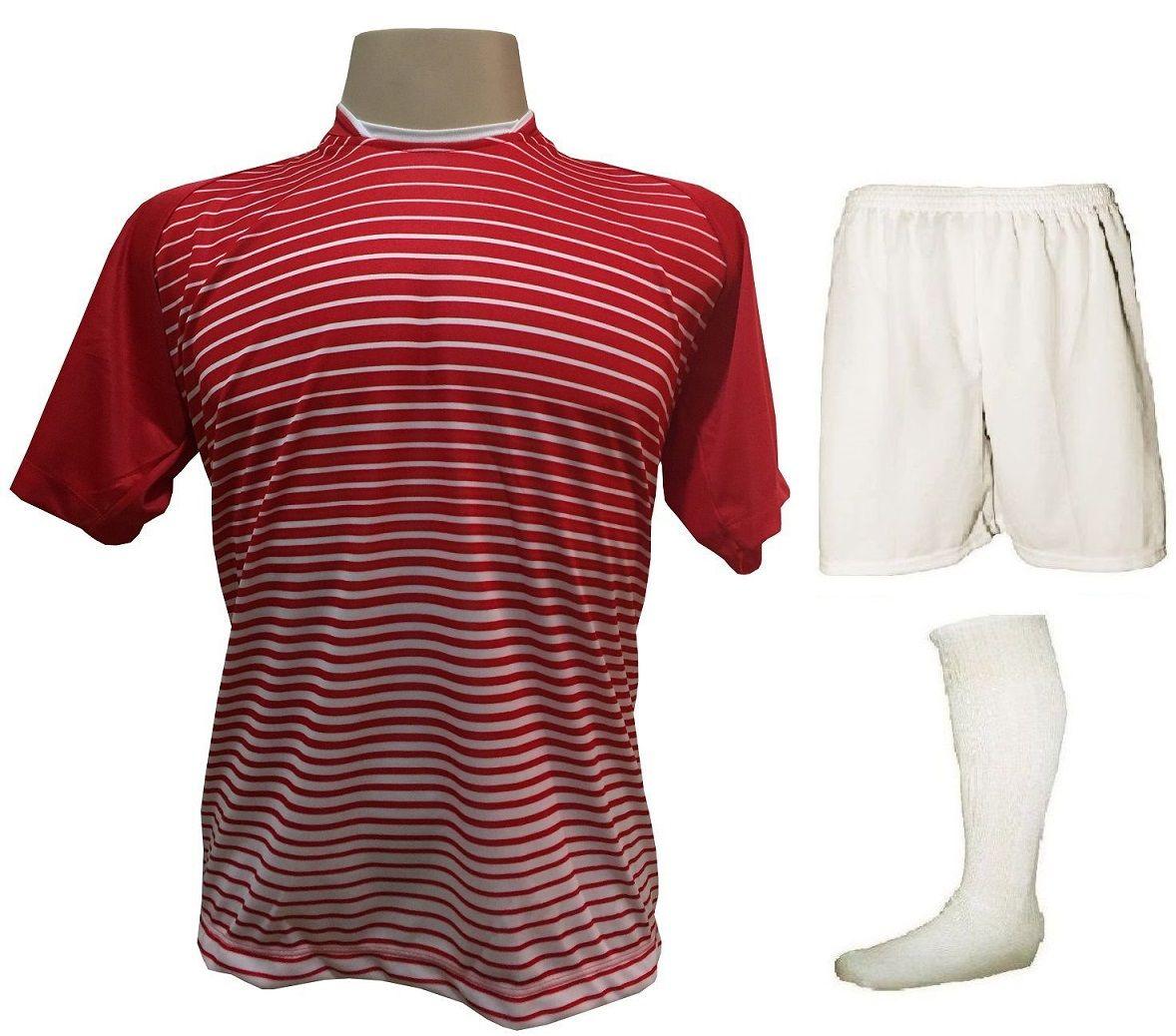 Uniforme Esportivo com 18 camisas modelo City Vermelho/Branco + 18 calções modelo Madrid Branco + 18 pares de meiões Branco