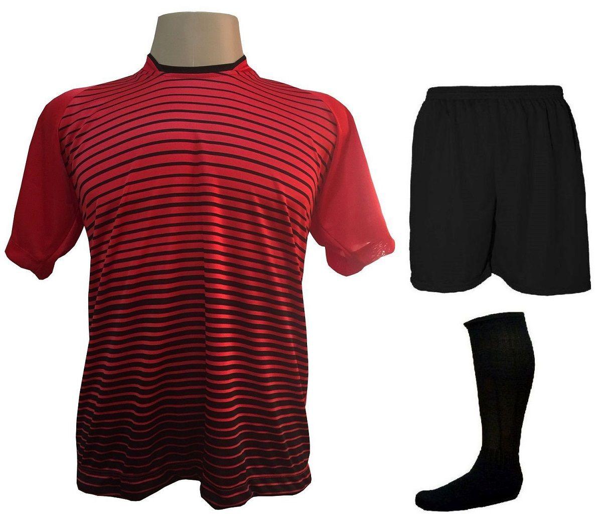 Uniforme Esportivo com 18 camisas modelo City Vermelho/Preto + 18 calções modelo Madrid Preto + 18 pares de meiões Preto