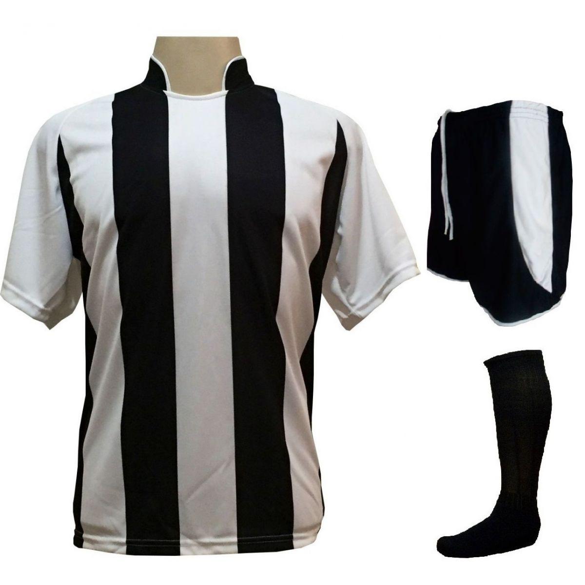 28041f349a96c Uniforme Esportivo com 18 camisas modelo Milan Branco Preto + 18 calções  modelo Copa Preto ...
