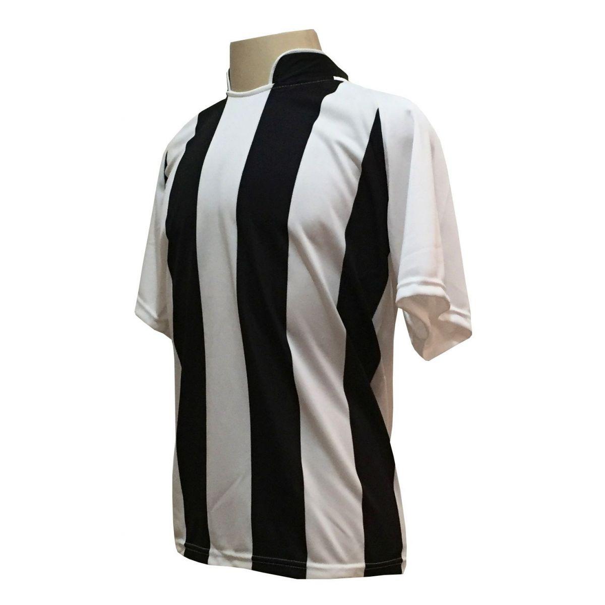 Uniforme Esportivo com 18 camisas modelo Milan Branco/Preto + 18 calções modelo Copa Preto/Branco + 18 pares de meiões Branco