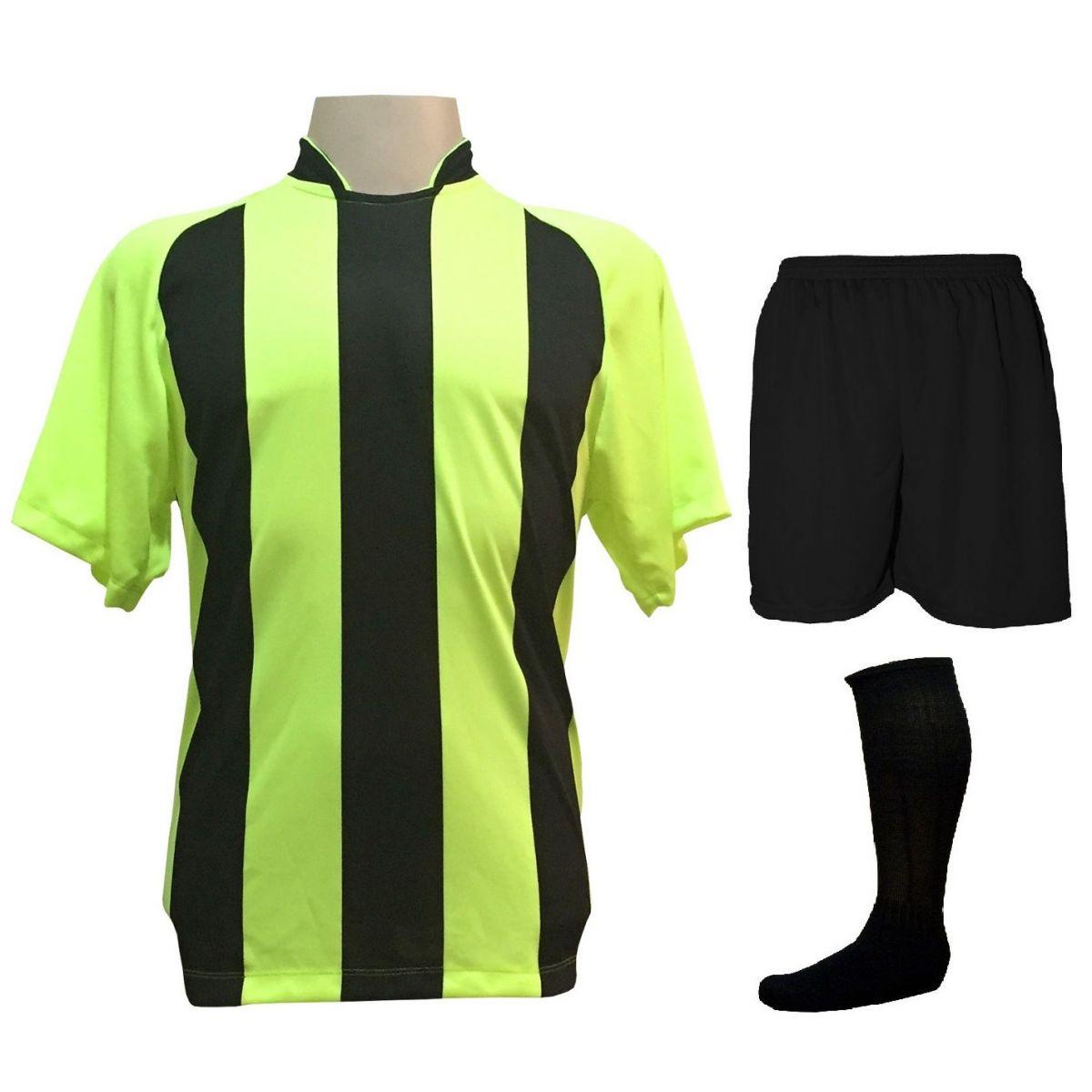 Uniforme Esportivo com 18 camisas modelo Milan Limão Preto + 18 calções  modelo Madrid Preto fb3aa89ceb142
