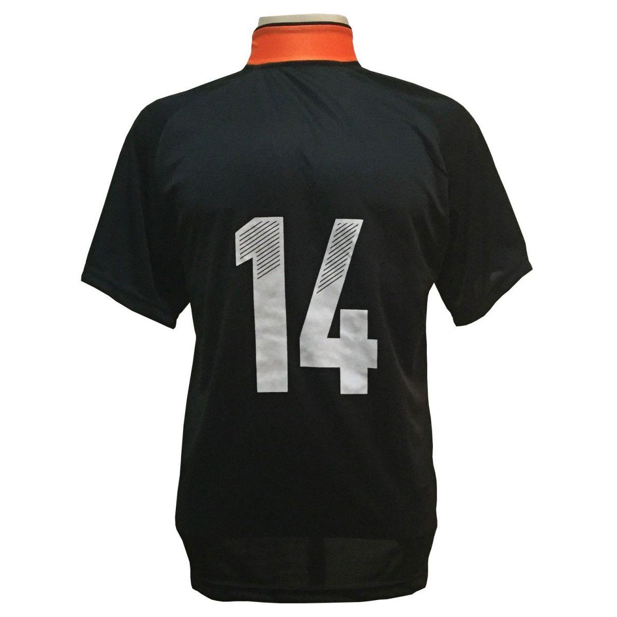 Uniforme Esportivo com 18 camisas modelo Milan Preto/Laranja + 18 calções modelo Madrid Preto + 18 pares de meiões Laranja