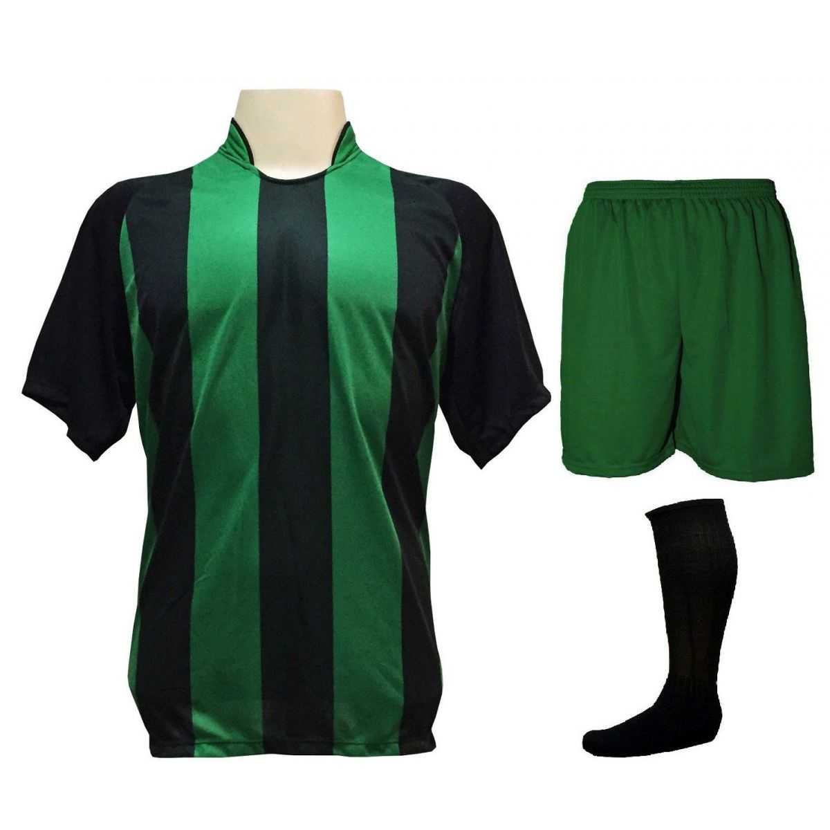 Uniforme Esportivo com 18 camisas modelo Milan Preto/Verde + 18 calções modelo Madrid Verde + 18 pares de meiões Preto