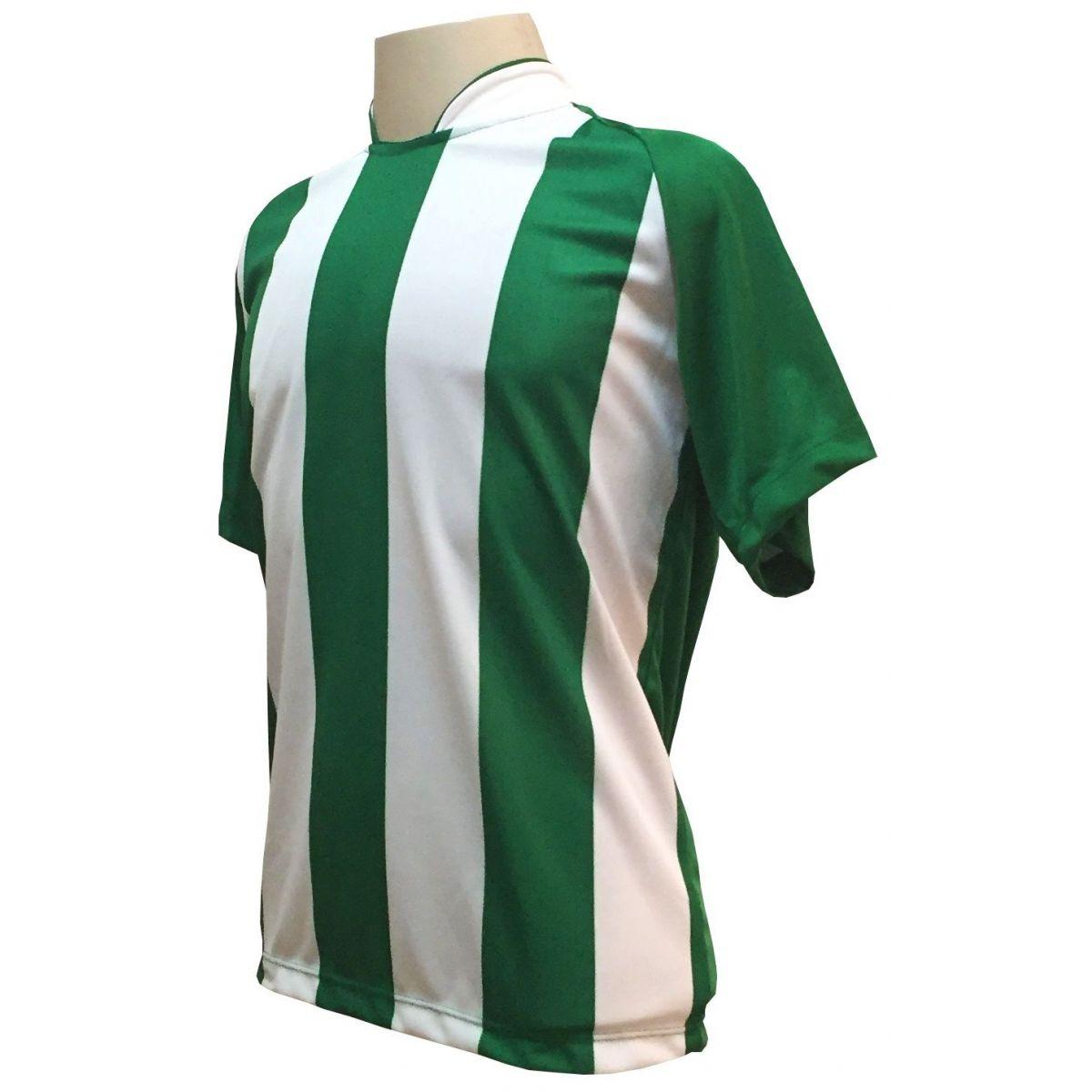 Uniforme Esportivo com 18 camisas modelo Milan Verde/Branco + 18 calções modelo Madrid Branco + 18 pares de meiões Verde