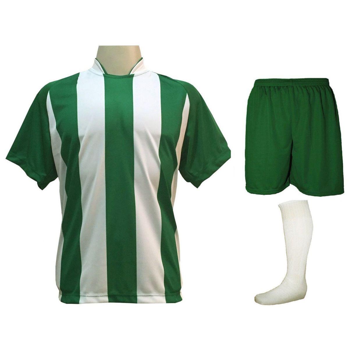 Uniforme Esportivo com 18 camisas modelo Milan Verde/Branco + 18 calções modelo Madrid Verde + 18 pares de meiões Branco
