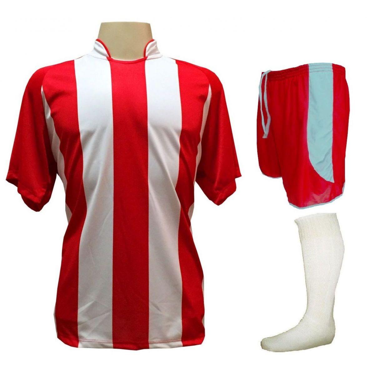 eb7c7107a912 Uniforme Esportivo com 18 camisas modelo Milan Vermelho/Branco + 18 calções  modelo Copa Vermelho
