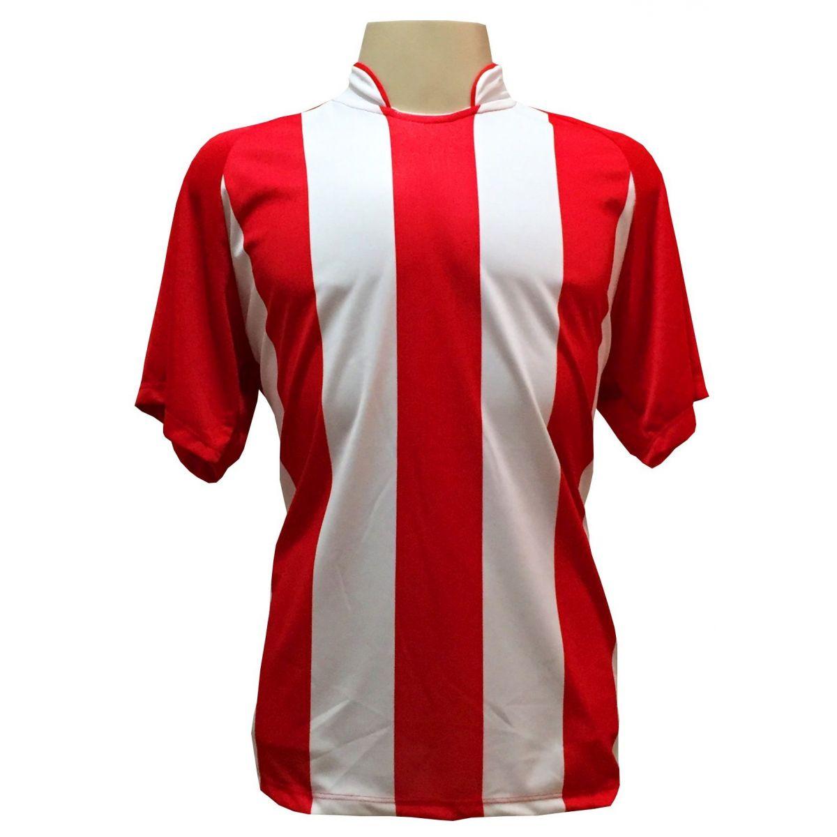 Uniforme Esportivo com 18 camisas modelo Milan Vermelho/Branco + 18 calções modelo Copa Vermelho/Branco + 18 pares de meiões Branco