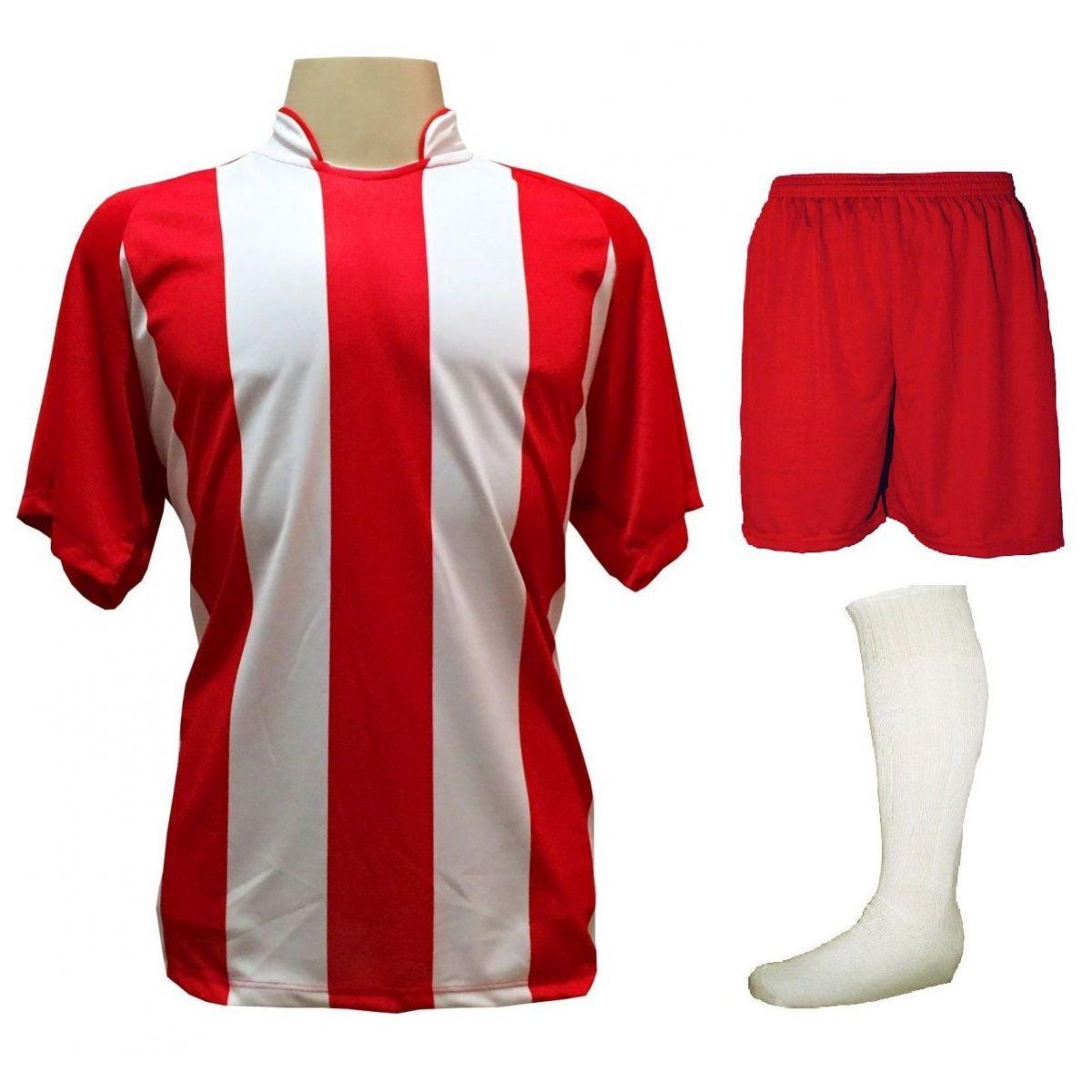 Uniforme Esportivo com 18 camisas modelo Milan Vermelho/Branco + 18 calções modelo Madrid Vermelho + 18 pares de meiões Branco