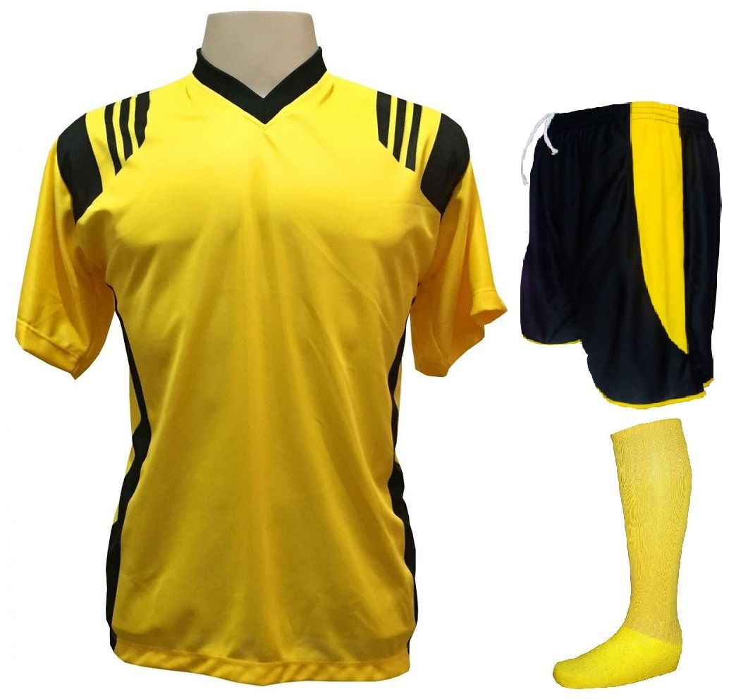 Uniforme Esportivo com 18 camisas modelo Roma Amarelo Preto + 18 calções  modelo Copa Preto ... f8e39a375ea58