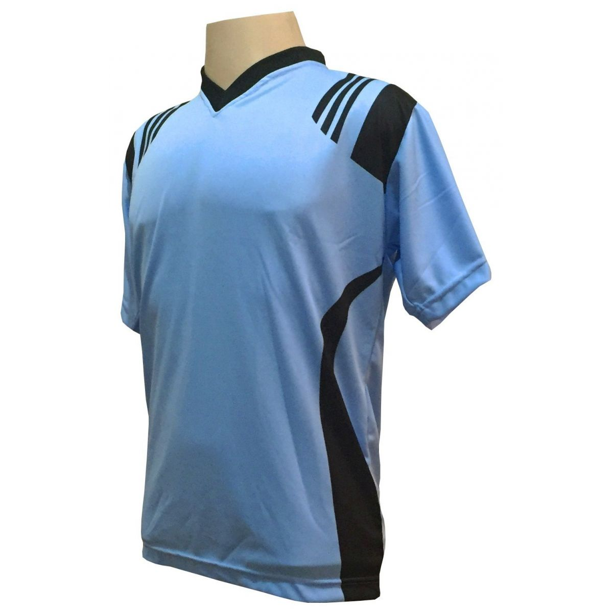 Uniforme Esportivo com 18 camisas modelo Roma Celeste/Preto + 18 calções modelo Madrid Preto + 18 pares de meiões Preto