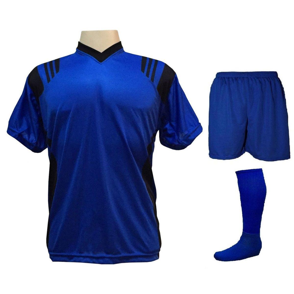 Uniforme Esportivo com 18 camisas modelo Roma Royal/Preto + 18 calções modelo Madrid Royal + 18 pares de meiões Royal