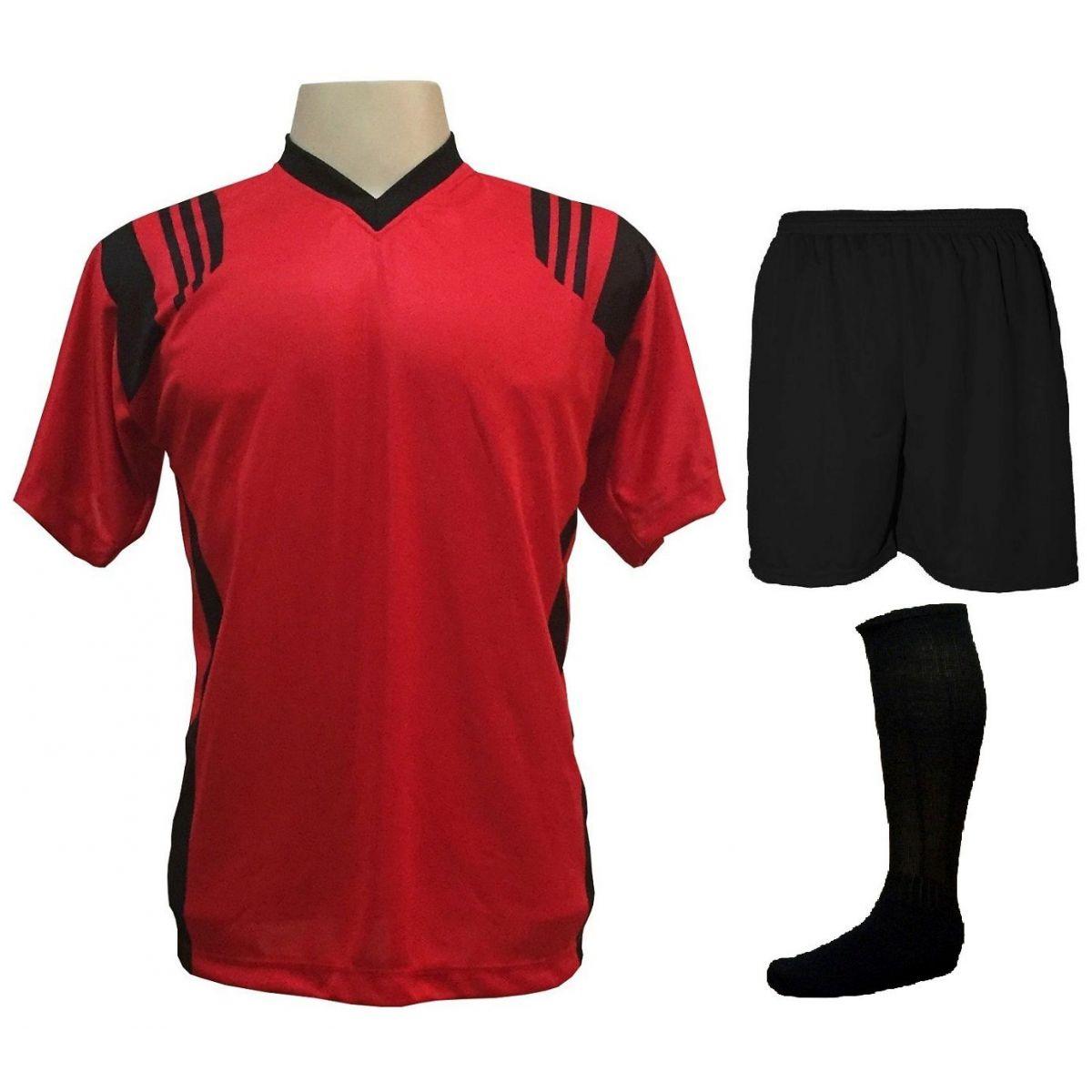 Uniforme Esportivo com 18 camisas modelo Roma Vermelho/Preto + 18 calções modelo Madrid Preto + 18 pares de meiões Preto