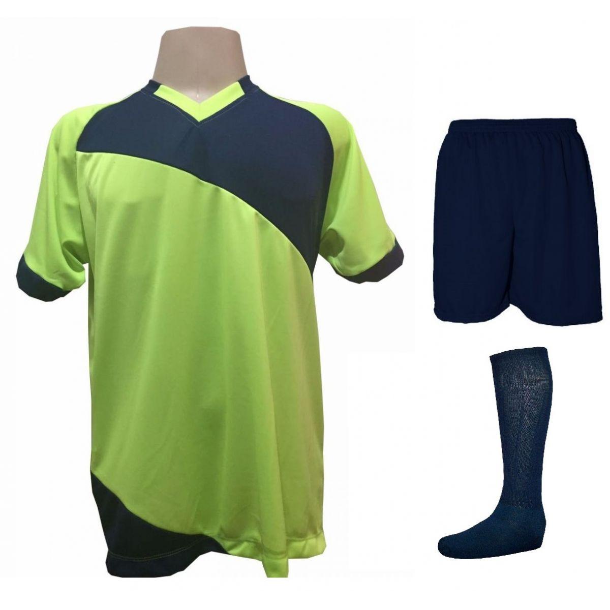 Uniforme Esportivo com 20 camisas modelo Bélgica Limão/Marinho + 20 calções modelo Madrid  Marinho + 20 pares de meiões Marinho