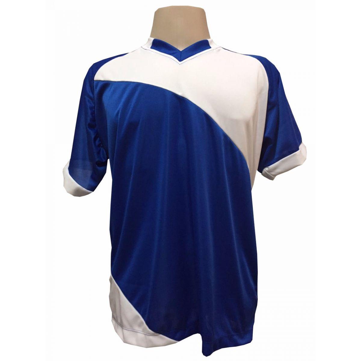 Uniforme Esportivo com 20 camisas modelo Bélgica Royal/Branco + 20 calções modelo Madrid Royal + 20 pares de meiões Royal