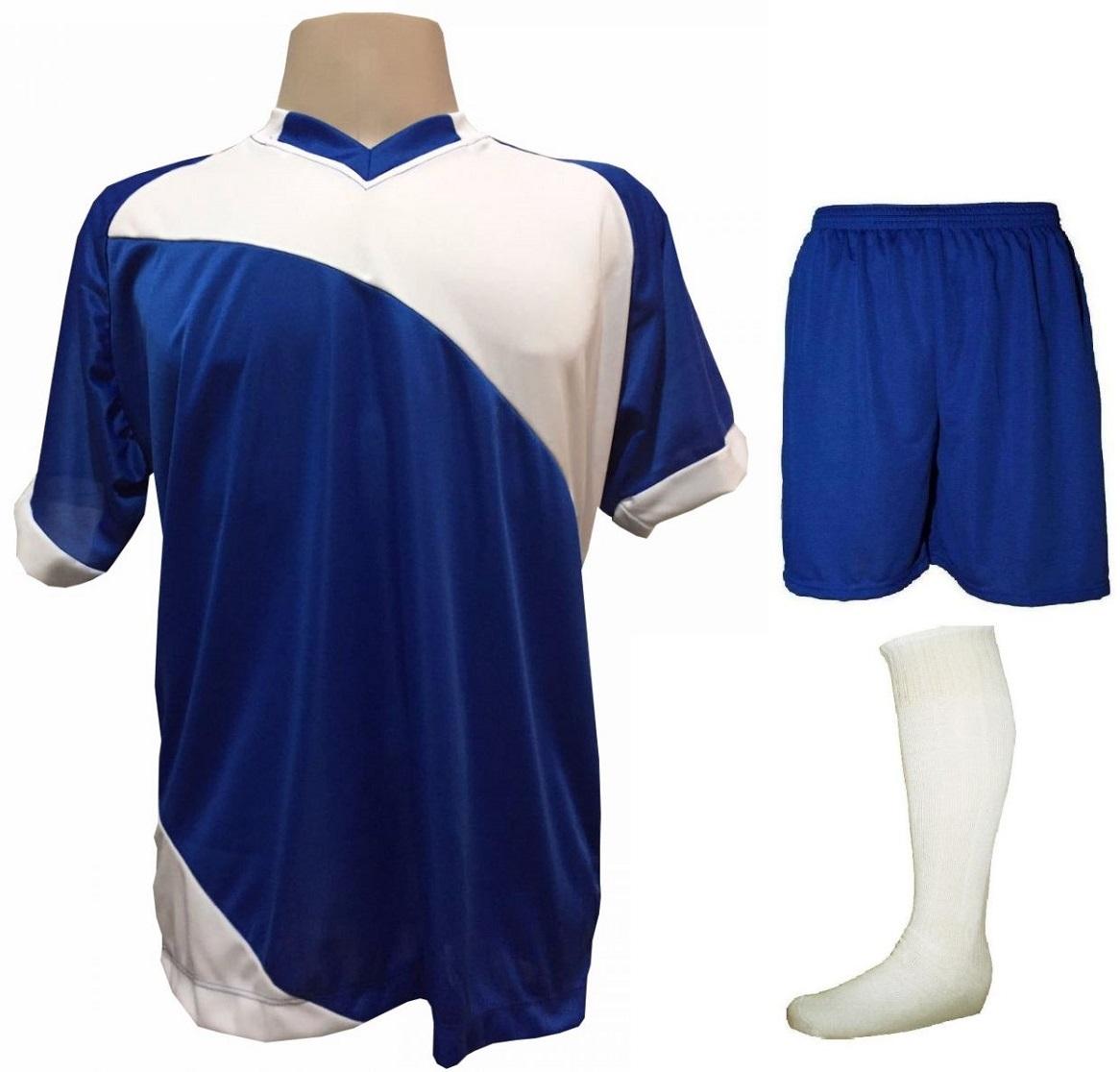 Uniforme Esportivo com 20 camisas modelo Bélgica Royal/Branco + 20 calções modelo Madrid Royal + 20 pares de meiões Branco
