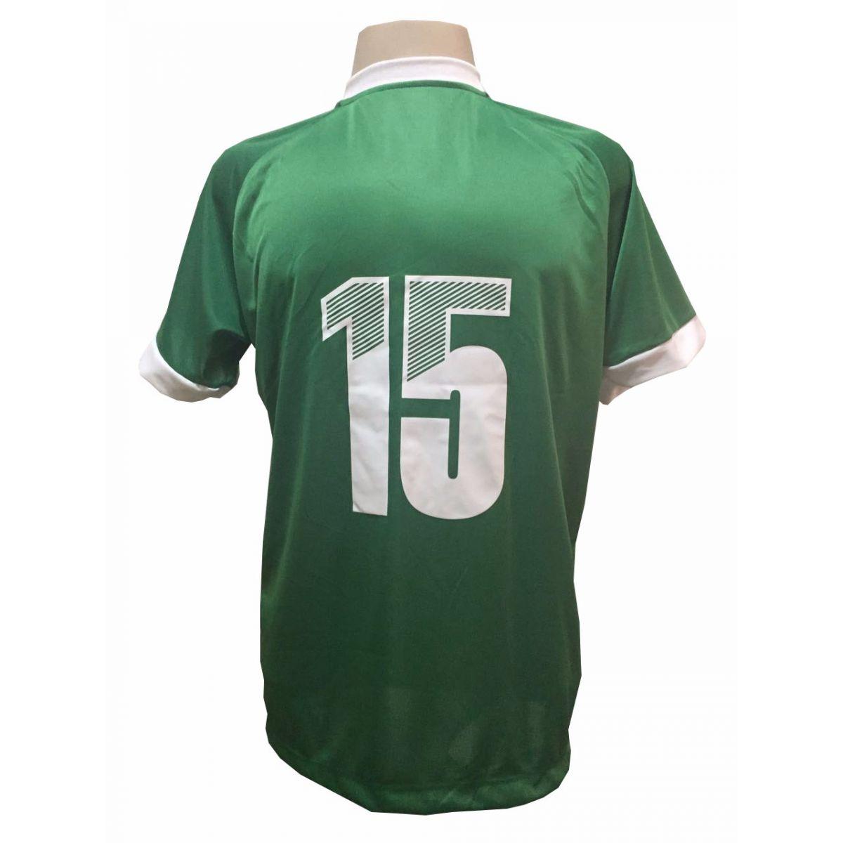 Uniforme Esportivo com 20 camisas modelo Bélgica Verde/Branco + 20 calções modelo Madrid Branco + 20 pares de meiões Branco