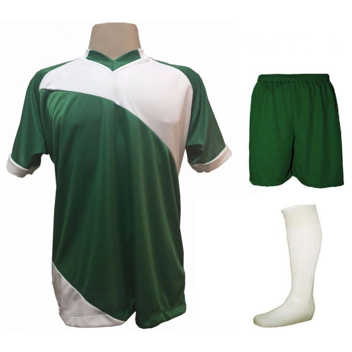 Uniforme Esportivo com 20 camisas modelo Bélgica Verde Branco + 20 calções  modelo Madrid Verde ... b18ee83bcd2ed