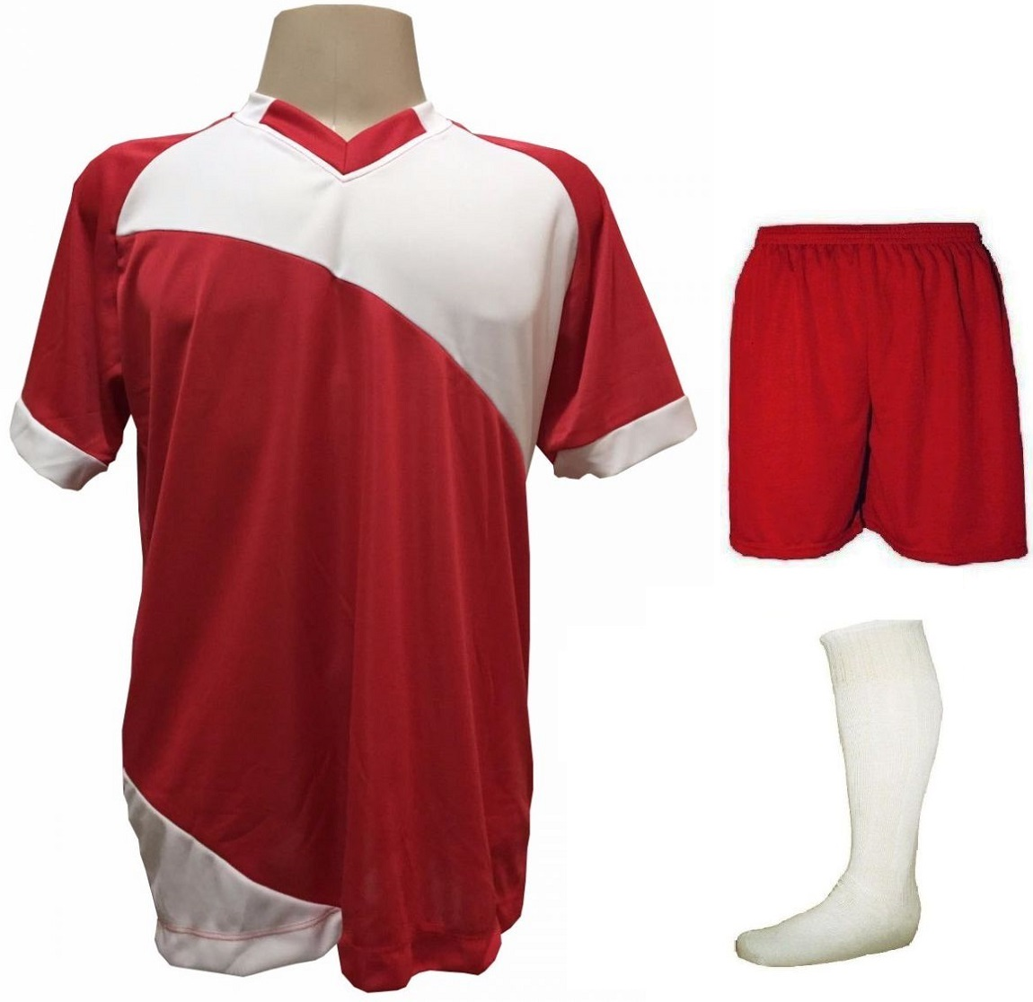 Uniforme Esportivo com 20 camisas modelo Bélgica Vermelho/Branco + 20 calções modelo Madrid Vermelho + 20 pares de meiões Branco