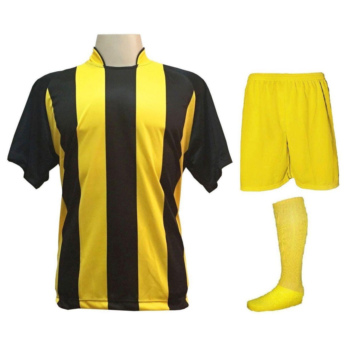 Uniforme Esportivo com 20 camisas modelo Milan Preto/Amarelo + 20 calções modelo Madrid Amarelo + 20 pares de meiões Amarelo
