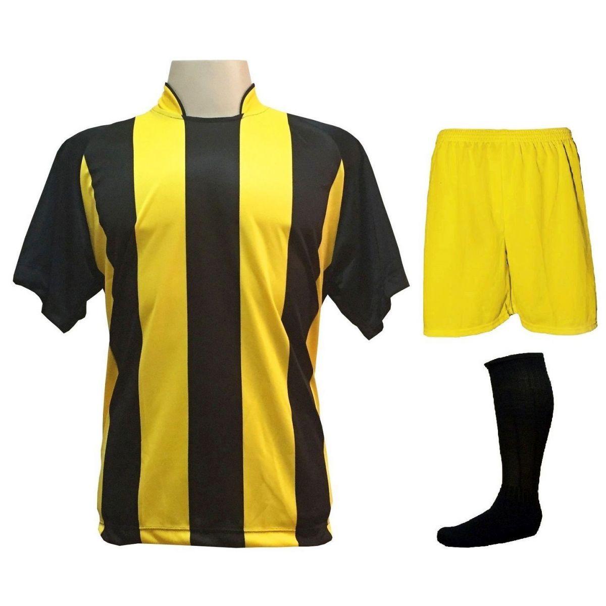Uniforme Esportivo com 20 camisas modelo Milan Preto/Amarelo + 20 calções modelo Madrid Amarelo + 20 pares de meiões Preto