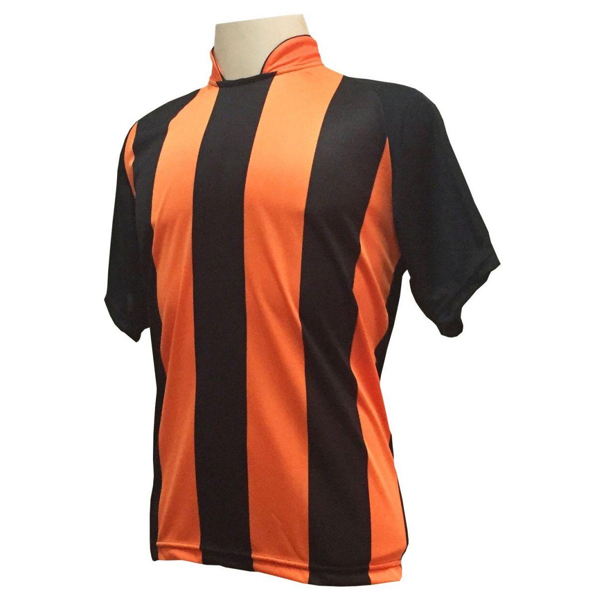 Uniforme Esportivo com 20 camisas modelo Milan Preto/Laranja + 20 calções modelo Madrid Preto + 20 pares de meiões Laranja