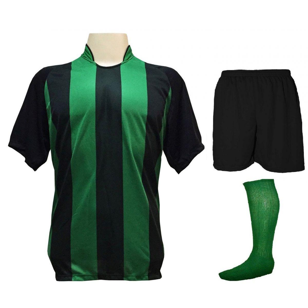 Uniforme Esportivo com 20 camisas modelo Milan Preto Verde + 20 calções  modelo Madrid Preto ... d69ba3447b504