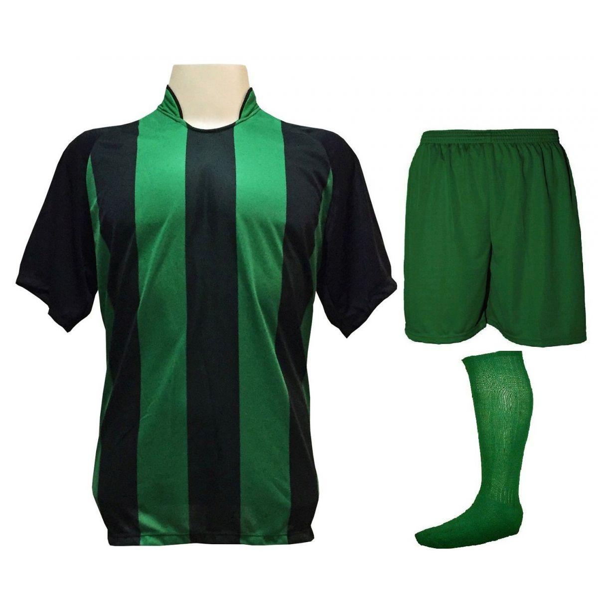 Uniforme Esportivo com 20 camisas modelo Milan Preto/Verde + 20 calções modelo Madrid Verde + 20 pares de meiões Verde