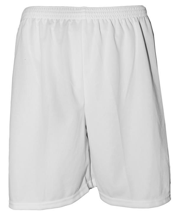 Uniforme Esportivo com 20 camisas modelo Milan Vermelho/Branco + 20 calções modelo Madrid Branco + 20 pares de meiões Branco