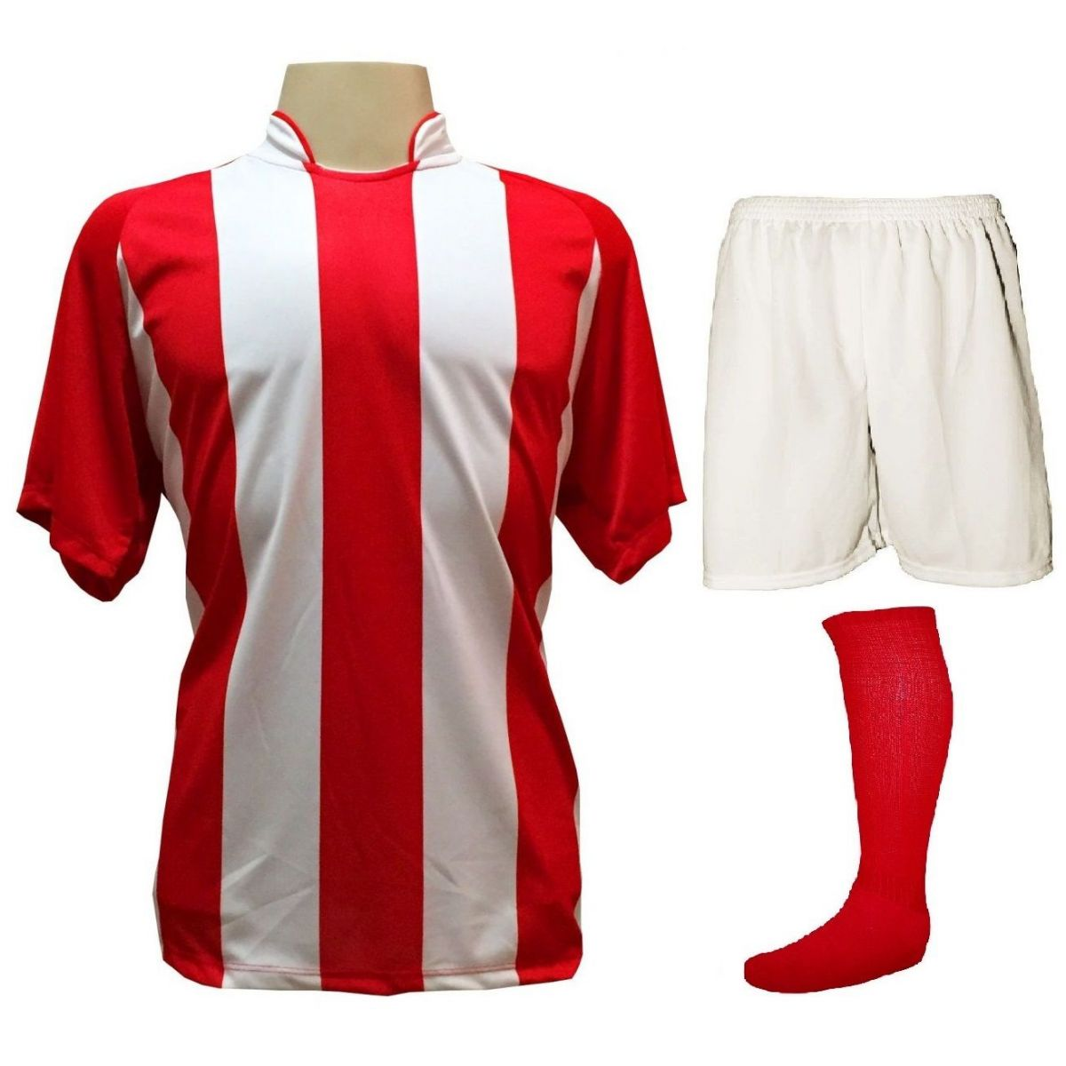 Uniforme Esportivo com 20 camisas modelo Milan Vermelho/Branco + 20 calções modelo Madrid Branco + 20 pares de meiões Vermelho