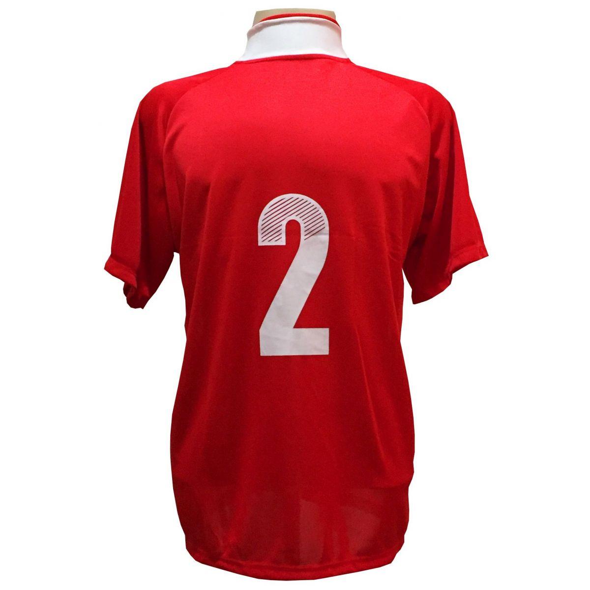 Uniforme Esportivo com 20 camisas modelo Milan Vermelho/Branco + 20 calções modelo Madrid Royal + 20 pares de meiões Vermelho