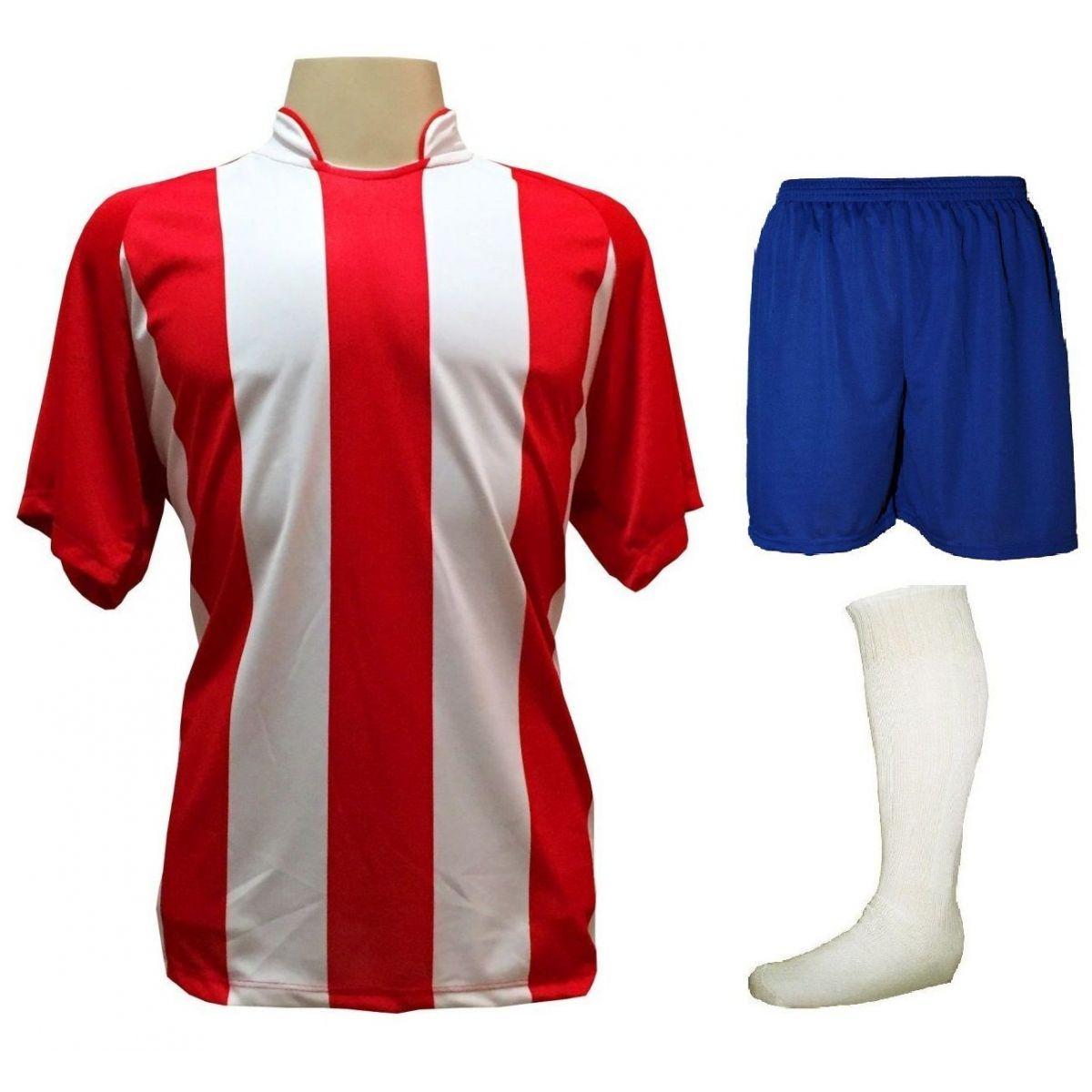 Uniforme Esportivo com 20 camisas modelo Milan Vermelho/Branco + 20 calções modelo Madrid Royal + 20 pares de meiões Branco
